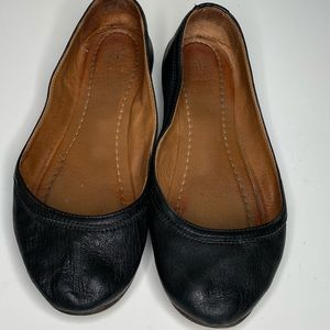 Frye Black Leather Elk Ballet Flats shoes Size 9